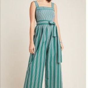 Anthropologie Stripped Linen Jumpsuit Size 2